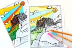 City on a Hill Adult Coloring Page Free Printable