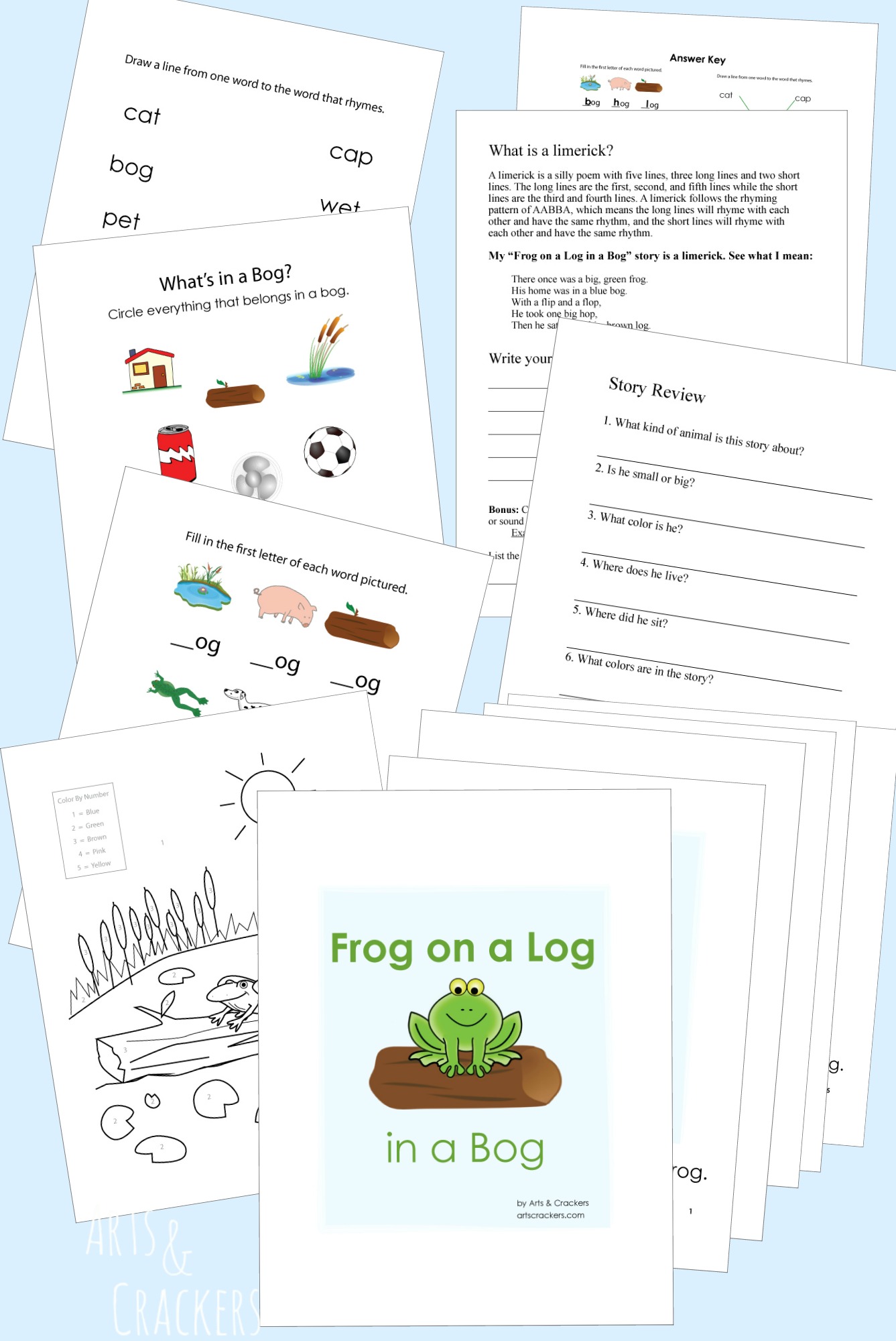 Printable 'Frog on a Log in a Bog' Book and Activities