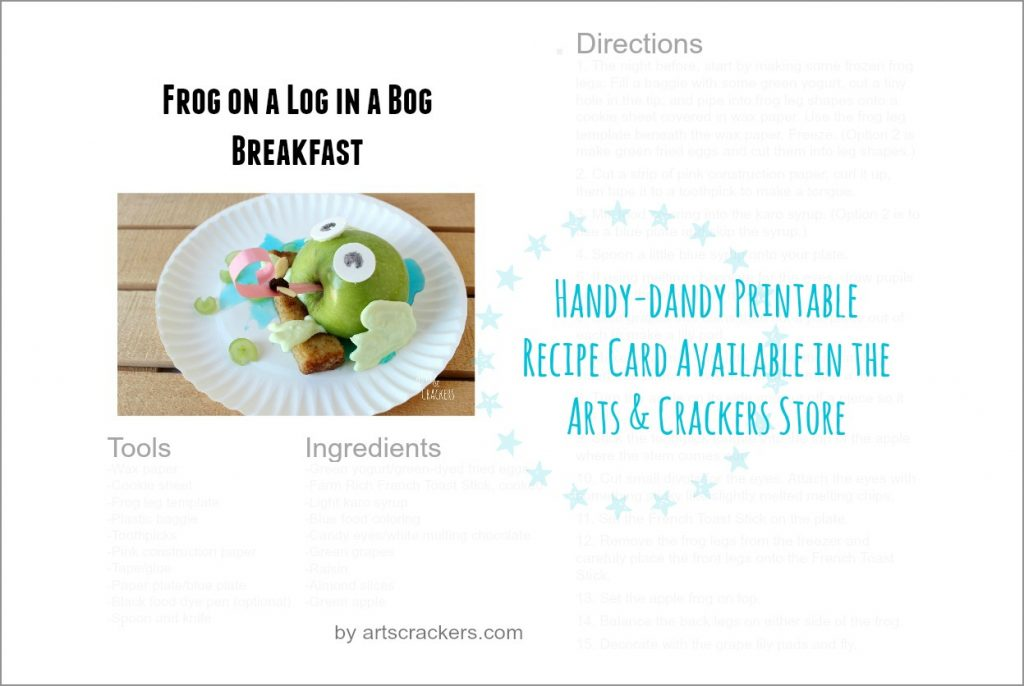 Frog on a Log in a Bog Breakfast Printable