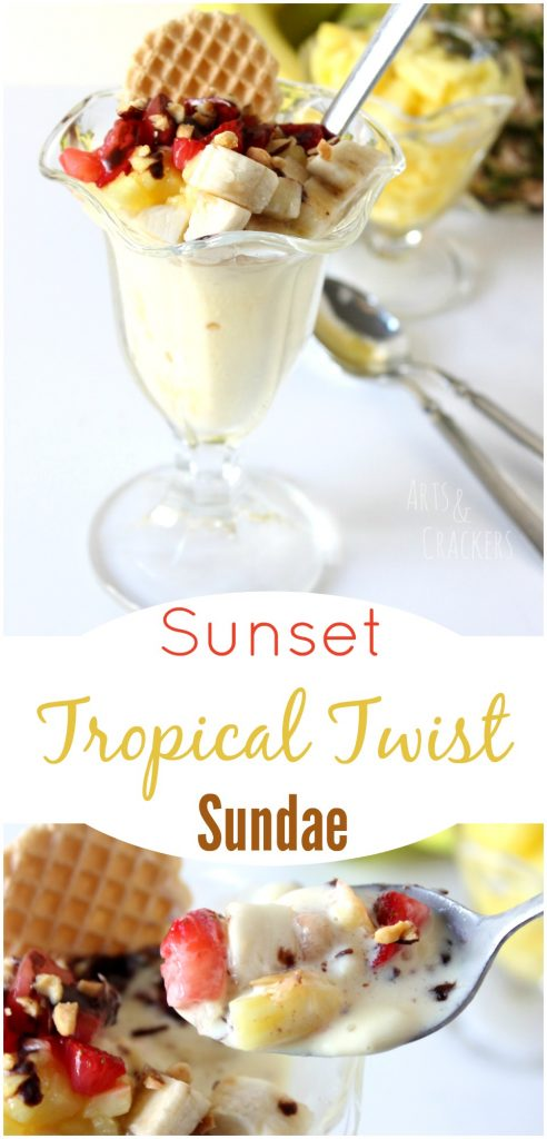 This Sunset Tropical Twist Sundae recipe is the perfect frozen ice cream treat for summer.