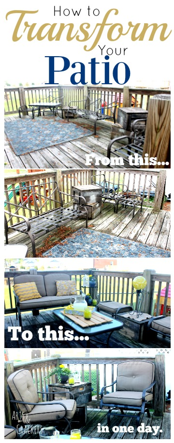 Learn how to transform your patio in one day with this budget-friendly patio makeover.