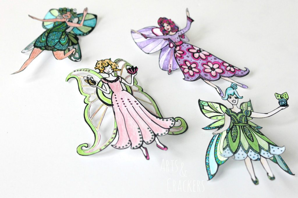 Fairies 2D Coloring Page Cutouts