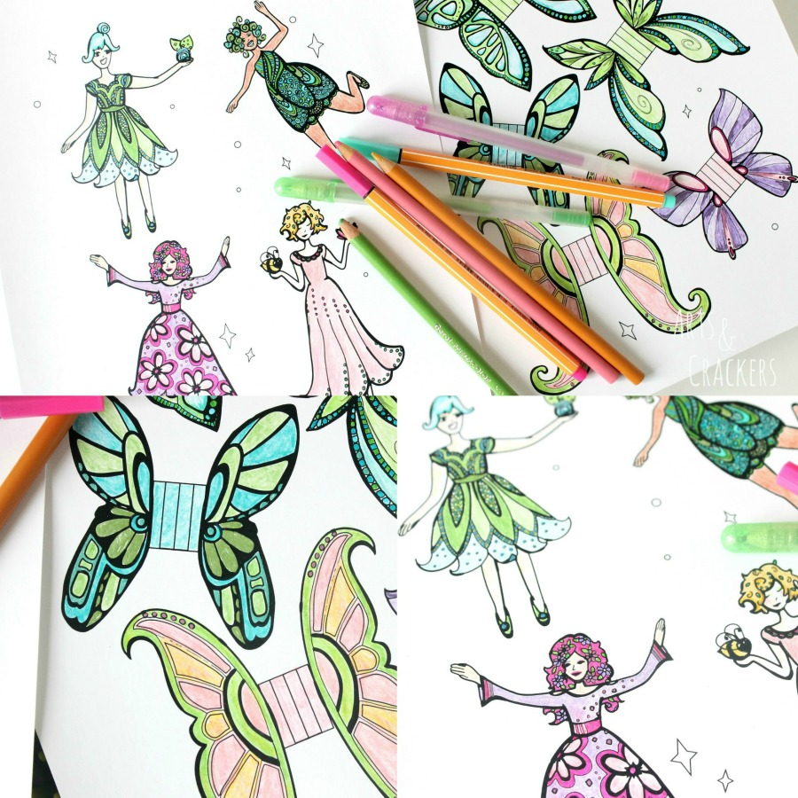 Fairies Cut Out Coloring Pages