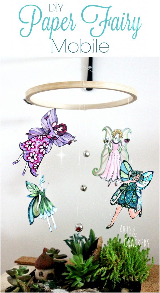 Learn how to make this gorgeous fairy mobile decoration, perfect for a little girls' room. Complete with cut-out adult coloring pages | Fairies | Fantasy | Adult Coloring | Printables | Mobile | Girls | Home Decor | DIY | Craft