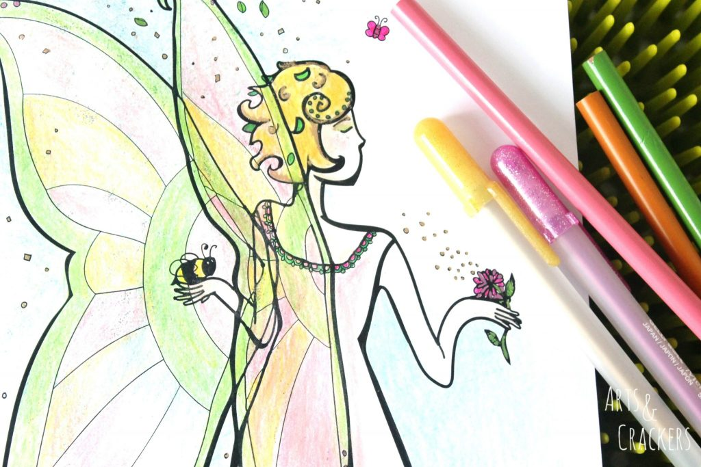 Honey Bee Fairy Coloring Page Close