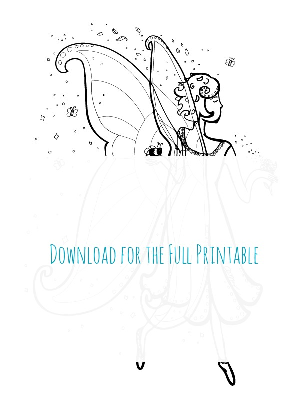 Honey Bee Fairy Printable Coloring Page