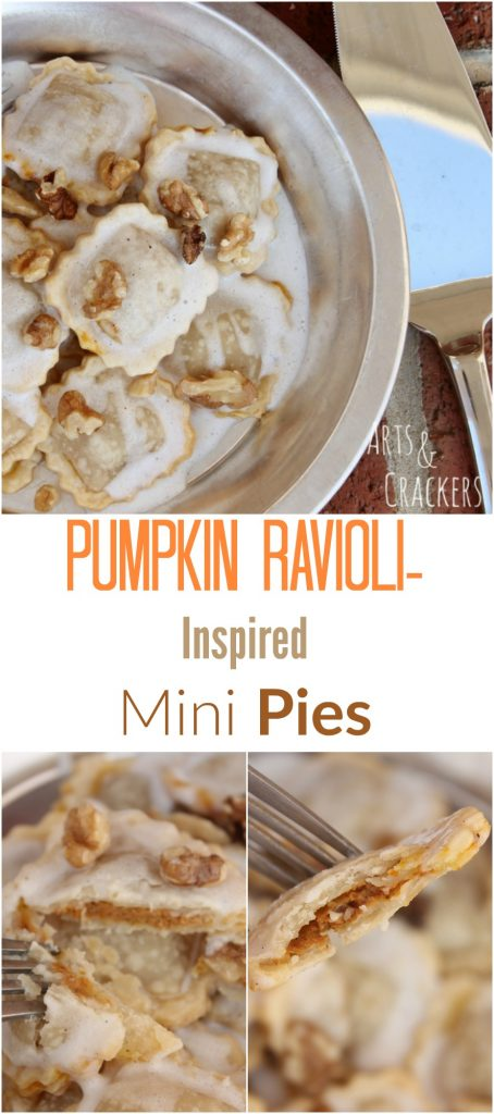 A twist on classic pumpkin ravioli, these mini pumpkin pies shaped like ravioli are delicious and simple to make. | Pumpkin Pie | Recipe | Pasta | Dessert | Culinary