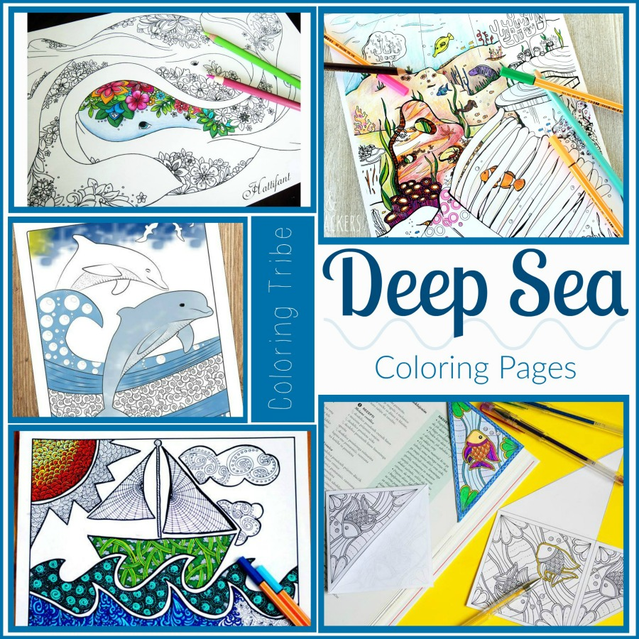 Deep Sea Coloring Pages Collage