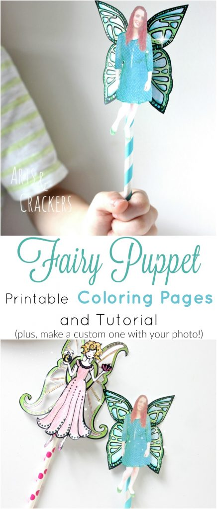 Make this fairy puppet using printable cut and color fairies and wings. Learn how you can even add your own photo! These make great fairy birthday party favors and storytelling prompts | Fairies | Adult Coloring | Fantasy | Whimsical | Puppets | Storytelling | Imaginative Play | Paper Straws | Puppets | Coloring Pages