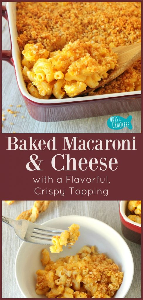 This Baked Macaroni and Cheese Recipe has a tasty, unique Cheesy Crumb Topping and a delicious blend of cheeses | Recipe | Macaroni | Cheese | Entree | Baking | Cooking | Dinner | Food | Family Meals | CheeseSticks | Kid-Friendly