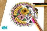 FREE Honey Bee Hive Mandala Adult Coloring Page