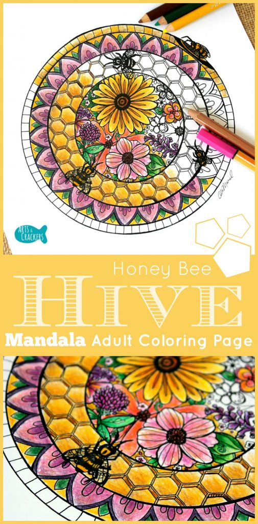 Enjoy this gorgeous Honey Bee Hive Mandala adult coloring page over a warm cuppa. This coloring page is available free when you click the picture, plus you can find out the inspiration behind it and what I used to color it. Honeybee | Hive | Mandala | Coloring | Adult Coloring | Free Printable | Free Coloring Page | Flowers | Honeycomb | Art | Hand-drawn