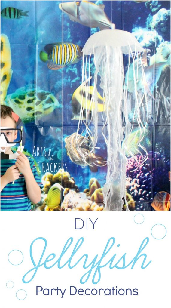 This DIY Hanging Jellyfish Decoration is perfect for Ocean-Themed Birthday Parties, Playrooms, and Bedrooms! Underwater | Ocean | Tutorial | Craft | Interior Design | Party Decor | Jellyfish
