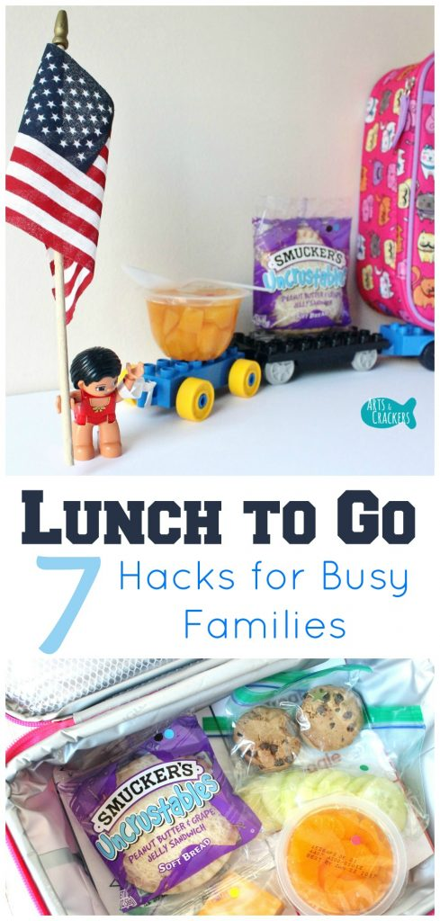 These Lunch Hacks to Go will help busy families to be unstoppable in their everyday routines. Learn ways to save time making lunch, don't forget to pack certain foods, and grab a free printable! Lunch | Back to School | Travel with Kids | Parenting | Hacks | To-Go | Quick and Easy | Lunch Ideas | School Lunch | Free Printable | On-the-Go | Time-Saving | Tricks and Tips | Food | Kids