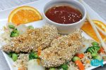 Peppered Oat Crusted Chicken with Orange Sauce Recipe