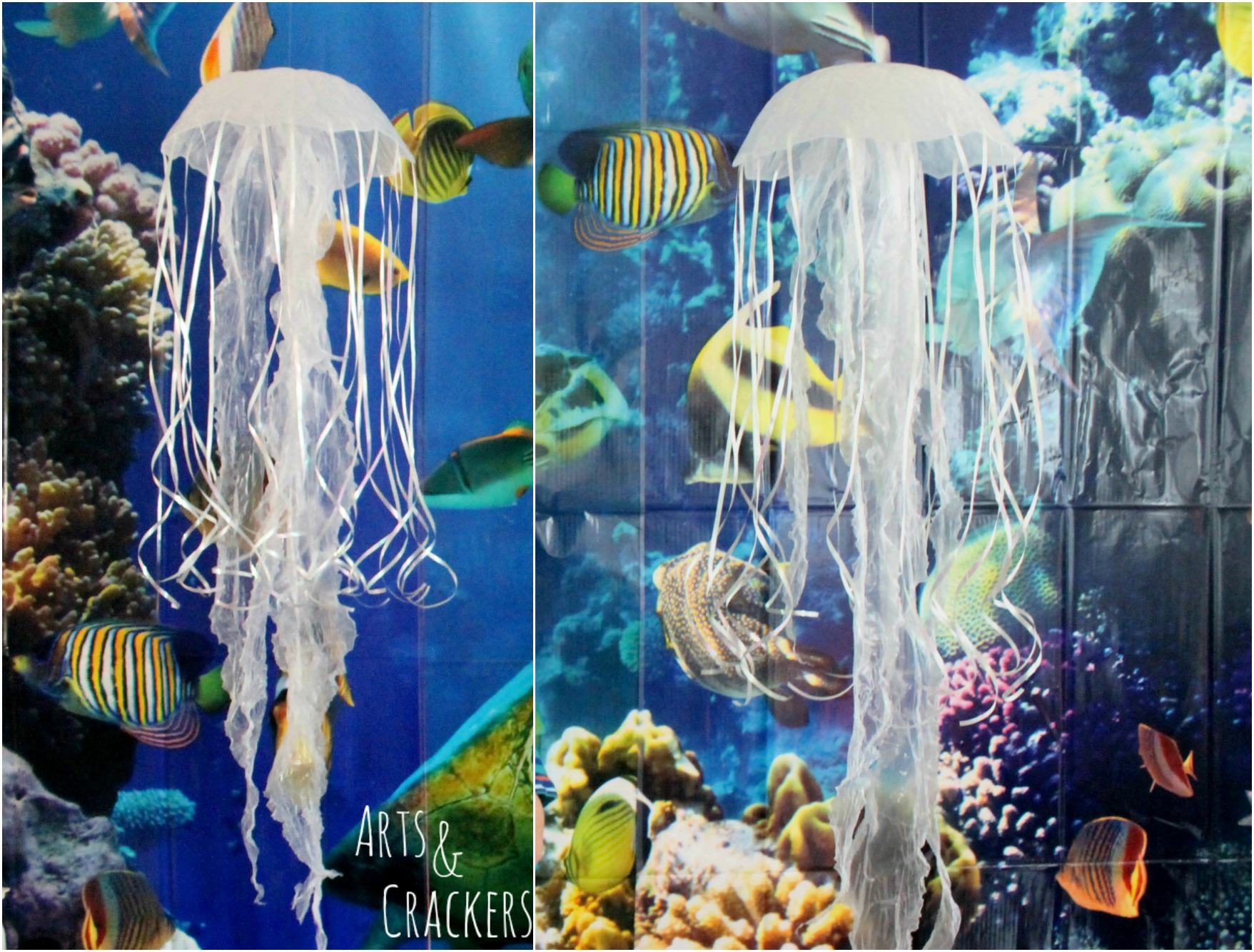 Diy hanging jellyfish decoration ocean themed party decor for Ocean themed home decor
