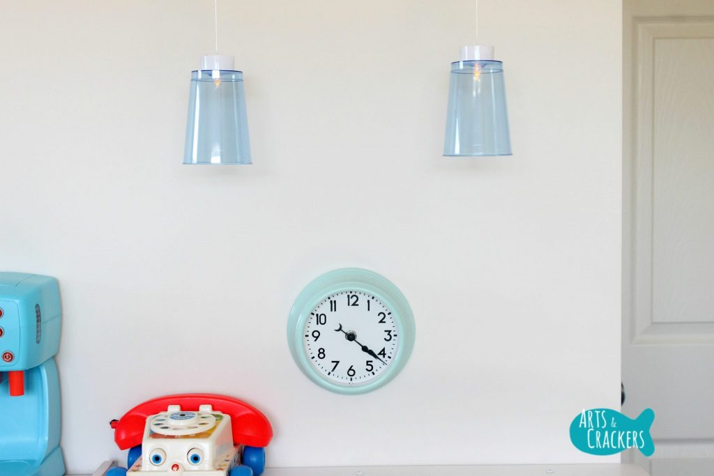 Playroom Makeover Clock and Lights