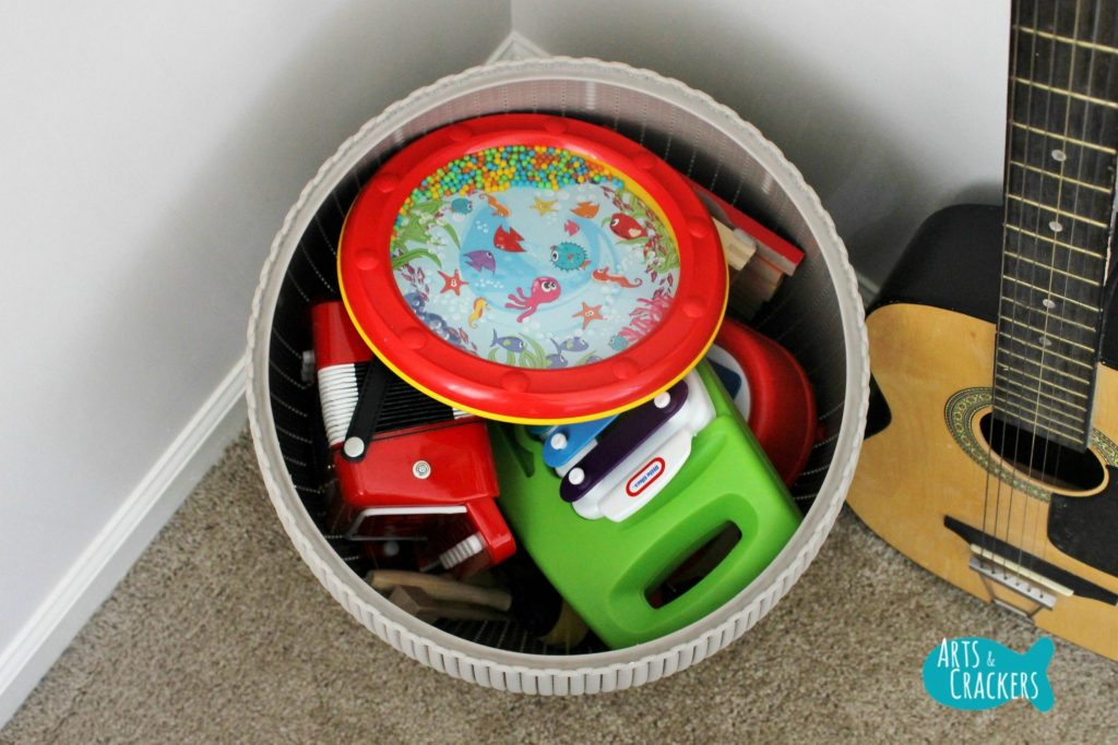 Playroom Makeover Music Bin