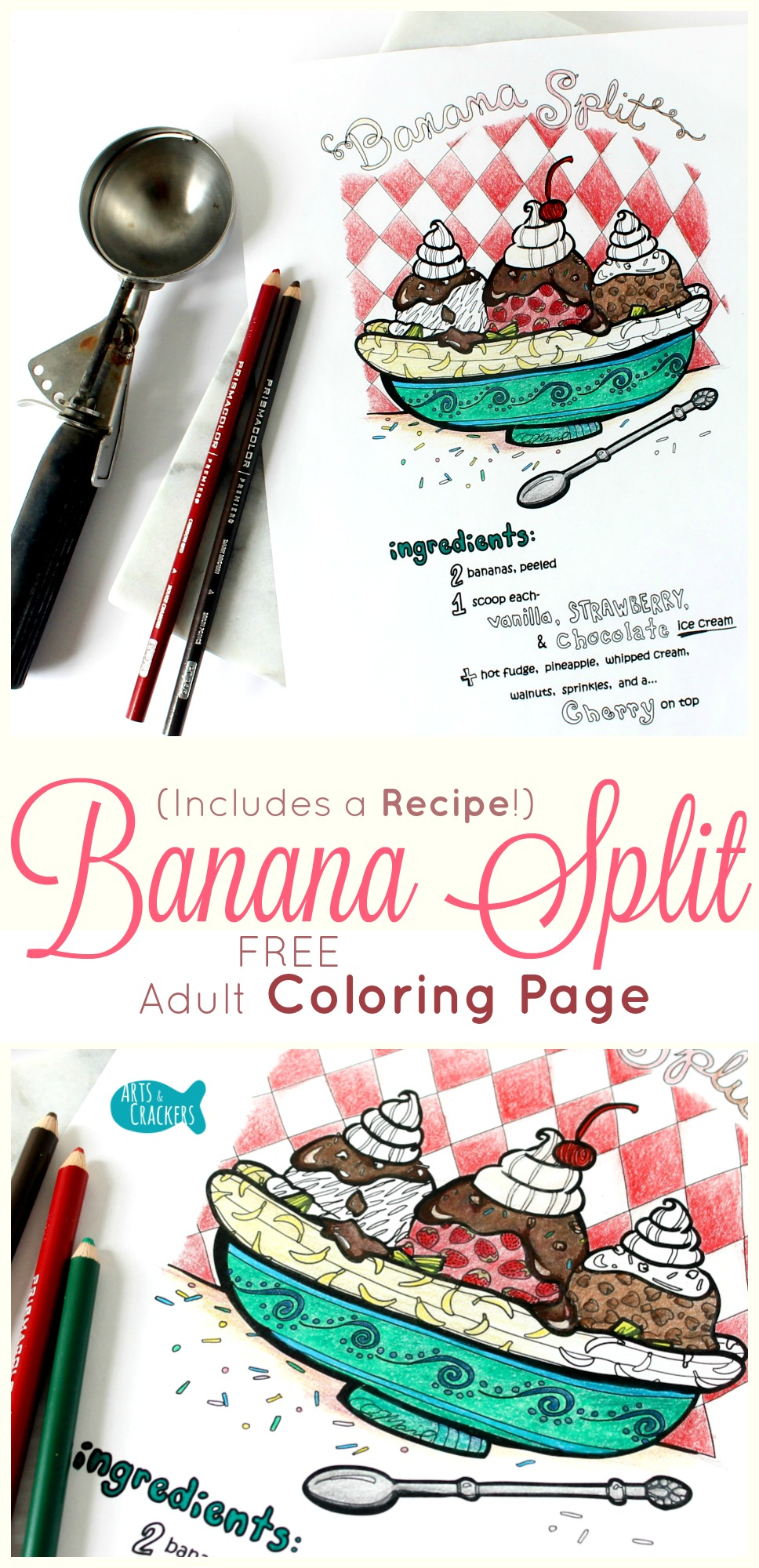 Banana Split Recipe Adult Coloring