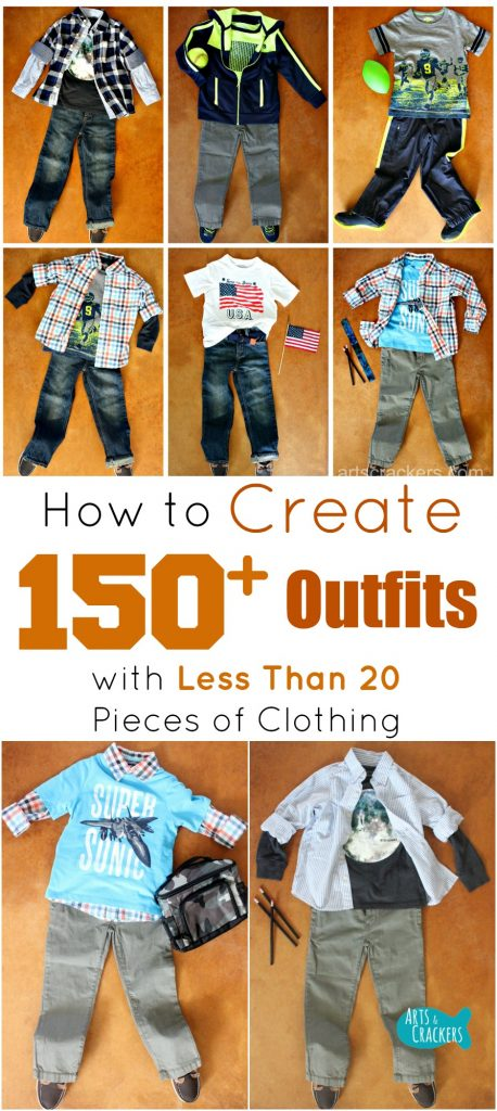 See how we created over 150 outfits from just 15 pieces of clothing and learn how you can too. Stretch your wardrobe and save money! Fashion | Clothing | Style | Outfits | Back-to-School | Kid Fashion | Layering