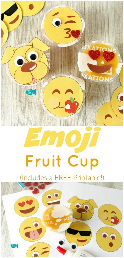 These emoji fruit cups are fun for lunches, snacks, back-to-school, picnics, field trips, and travel! Free printable and tutorial | Emoji | Emoticons | Emotions | Smiley Face | Back to School | Lunch | Lunchbox | Kid Snacks | Fruit Cups | Food Crafts | Printables | Lunch Ideas