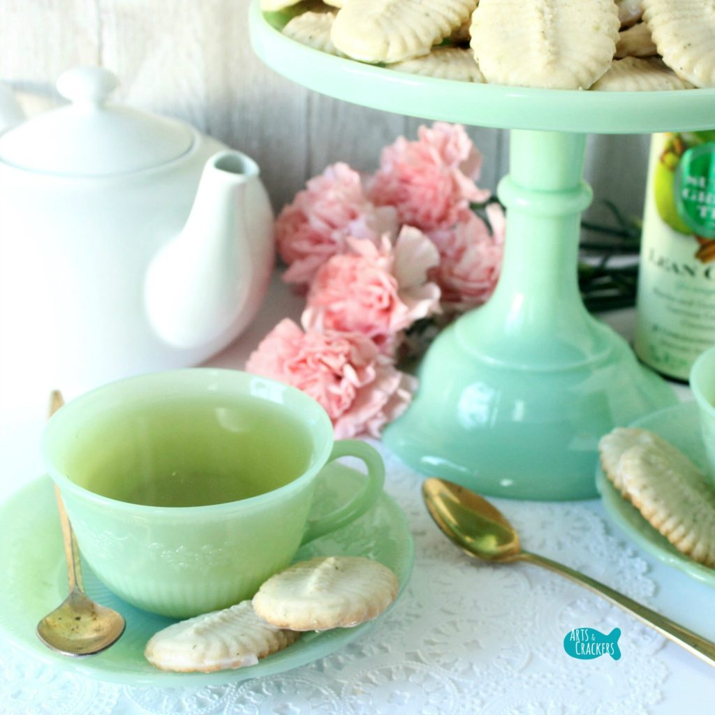 Green Tea Iced Spritz Cookies Square