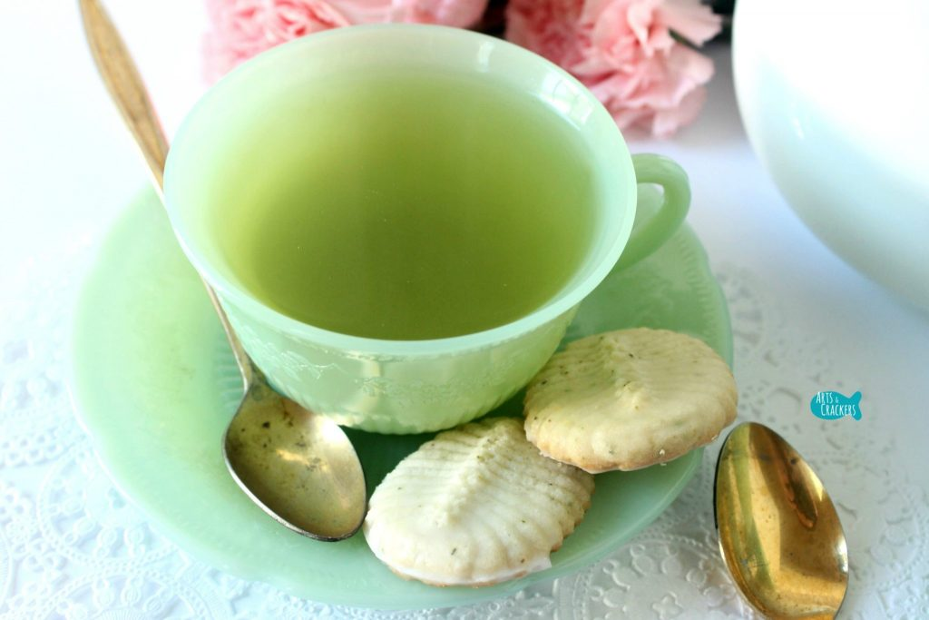 Green Tea Spritz Cookies on Tea Cup