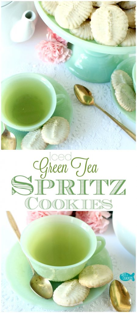 Iced Green Tea Spritz Cookies are perfect for tea parties, special events, Christmas, and just because. They are glazed in a delicious green tea icing | Spritz Cookies | Recipe | Cookies | Cookie Recipes | Christmas Cookies | Tea Cookies | Tea Party | Green Tea | Homemade Cookies | Green Tea Cookies | Spritzgeback | German Cookies | Fancy Cookies | Dessert | Dessert Recipes | Sweets | Butter Cookies
