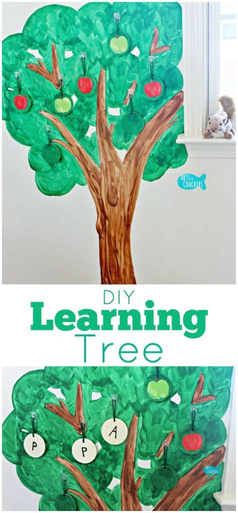 Find out how to make this simple Playroom Learning Tree and see how your kids can use it to learn spelling, counting, colors, and more! Playroom | Learning | Literacy | Reading | Math | Arithmetic | Tree | Fine Motor Skills | Educational Activities | DIY | Learning Center | Classroom | Homeschool | Kids Activities