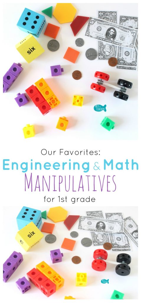 We share our favorite engineering and math manipulatives for our 1st grade homeschool and explain some ways we use them. Homeschool | Grade School | Education | Math | Engineering | Learning Tools | Math Manipulatives | Teaching | Oriental Trading Company