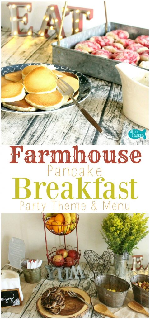 Visit our farmhouse pancake breakfast party, complete with country chic decorations and a delicious feast of breakfast foods | Farmhouse | Farmhouse Breakfast Party | Party Ideas | Party Theme | Adult Party | Breakfast Party | Breakfast | Brunch | Pancakes | Country | Country Chic | Shabby Chic | Buffet | Feast | Party Menu | Party Decor | Grown Up Party Ideas | Old-Fashioned Breakfast