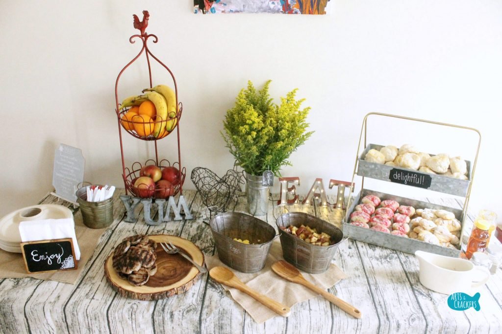 Farmhouse Breakfast Party Food and Decor