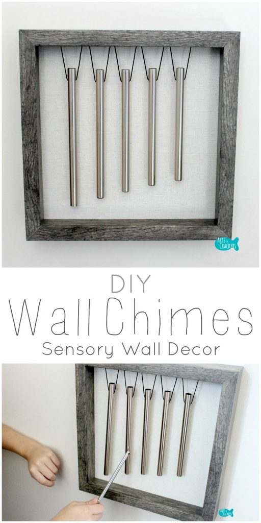 These DIY Wind Chimes for the wall work as an interactive sensory wall decoration. Come see how we made them. Wind Chimes | DIY | Craft | Tutorial | Craft Tutorial | DIY Instruments | Musical | Instrument | Chimes | Shadow Box | Shadow Box Craft | Wall Decor | Sensory Wall | Playroom Decor