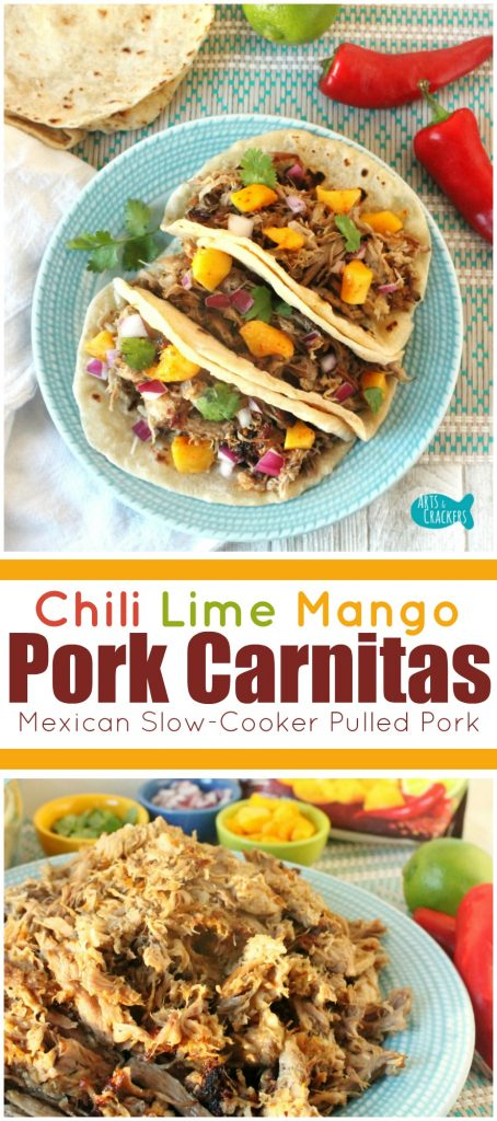 This Chili Lime Mango Pork Carnitas is a simple and refreshing Mexican slow cooker pulled pork dish. Enjoy it on its own or on a sandwich or taco or nachos. Pork Carnitas | Mexican | Pork Tacos | Pork Recipes | Pork | Pulled Pork | Slow Cooker Recipes | Slow Cooker Pork | CrockPot Recipes | Entree | Dinner | Mexican Food | Recipes | Mango Recipes
