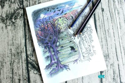 Deep in the Woods Halloween Coloring Page for Adults