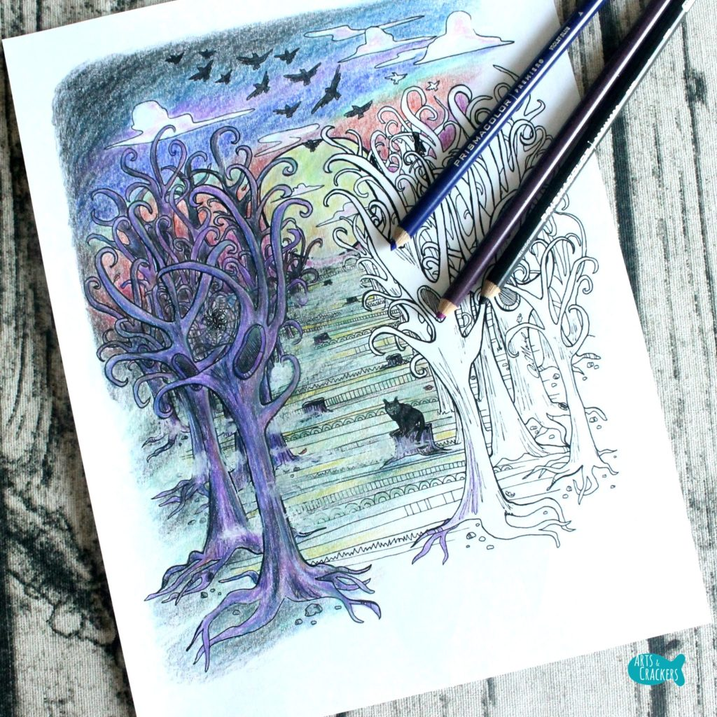 Deep in the Woods Halloween Coloring Page for Adults Square
