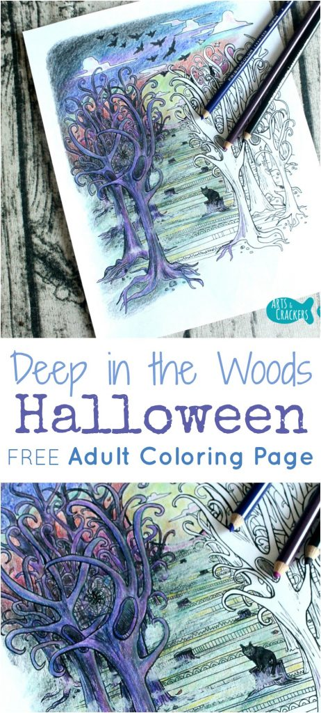 """This Halloween coloring page for adults, """"Deep in the Woods"""" is spooky and inspired. Learn my coloring techniques and get your free printable coloring page   Adult Coloring   Coloring For Adults   Adult Coloring Page   Free Printable   Free Coloring Page   Free Coloring Pages for Adults   Halloween   Halloween Coloring Pages   Spooky   Woods   Coloring Techniques   Whimsical   Scenery Coloring Page"""