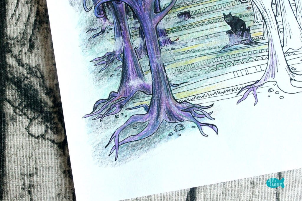 Deep in the Woods Halloween Coloring Page for Adults Roots and Fog
