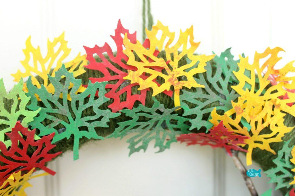 Paper Leaf Tree Wreath Leaf Closeup