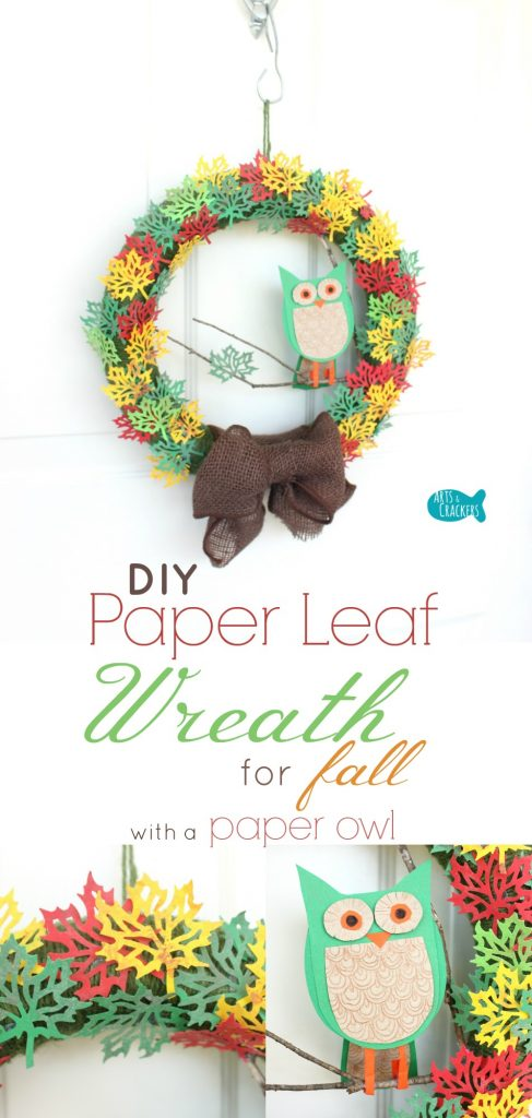 This paper leaf wreath is perfect for fall. Learn how to create this autumn paper craft and the adorable paper owl. Paper Craft | Wreath | Fall Wreath | Paper Leaf | Leaf Wreath | Paper Owl | Autumn Wreath | Fall Crafts | Autumn Craft | Tree Wreath | Tutorial | Leaf Craft | Fall Decor | Autumn Decor