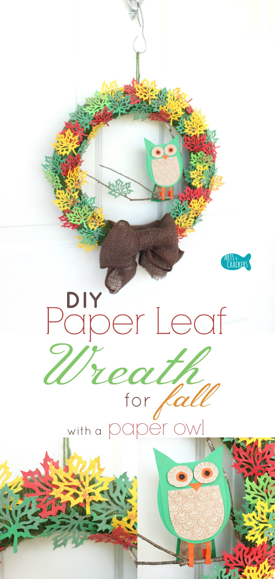 Paper leaf wreath with paper owl fall paper craft tutorial this paper leaf wreath is perfect for fall learn how to create this autumn paper jeuxipadfo Image collections