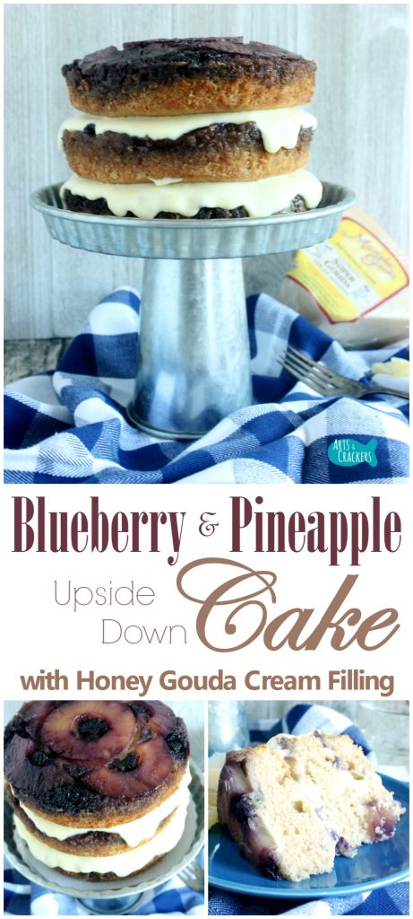 This Blueberry Pineapple Upside Down Cake is layered with a honey gouda cream filling. It's gorgeous AND delicious. Find out how to make it | Pineapple Upside Down Cake | Cake | Gateau | Pineapple | Blueberry | Gouda Cheese | Bavarian Cream | Dessert | Layer Cake | Fancy Cake | Spiced Cake | Sweets | Yummy | Wisconsin Cheese | Cheese Cake | Gouda | Culinary Arts | Recipe | Homemade