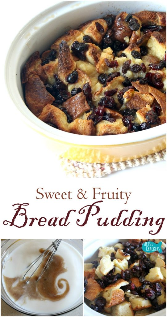 This bread pudding is made of sweet bread and tangy fruit--the perfect combination. This is a delightful dish for fall and winter months | Bread Pudding | Day Old Bread | Bread | Hawaiian Bread | Dried Fruit | Casserole | Dessert | Winter Recipes | Fall Recipes