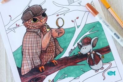 Whooodunnit Owl Coloring Page Owl Close