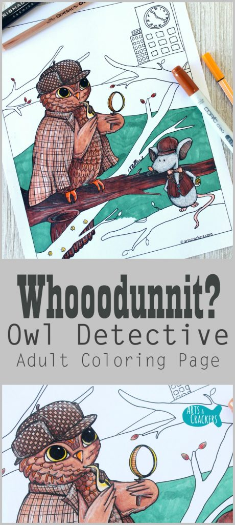 Whooodnnit? This owl coloring page shares the story of the wise owl, Sherlock, and The Cheese-Napper. Get your free printable adult coloring page and tips | Adult Coloring | Owls | Free Printables | Indie Art | Whodunnit | Mystery | Art | Coloring | Coloring for Adults | Sherlock Holmes