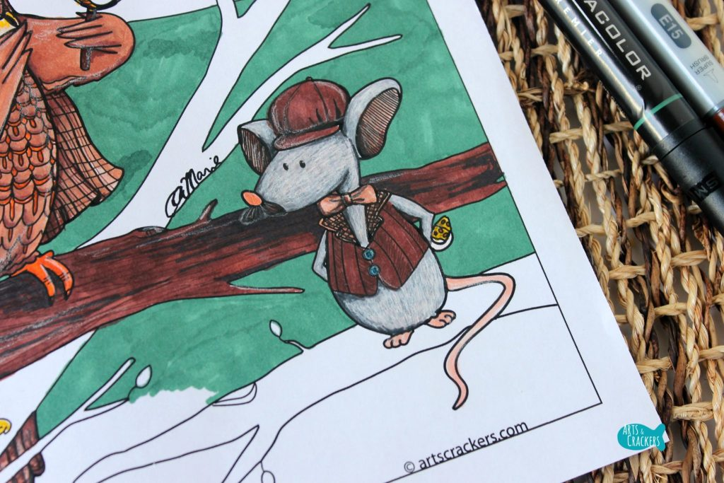 Whooodunnit Owl Coloring Page Mouse