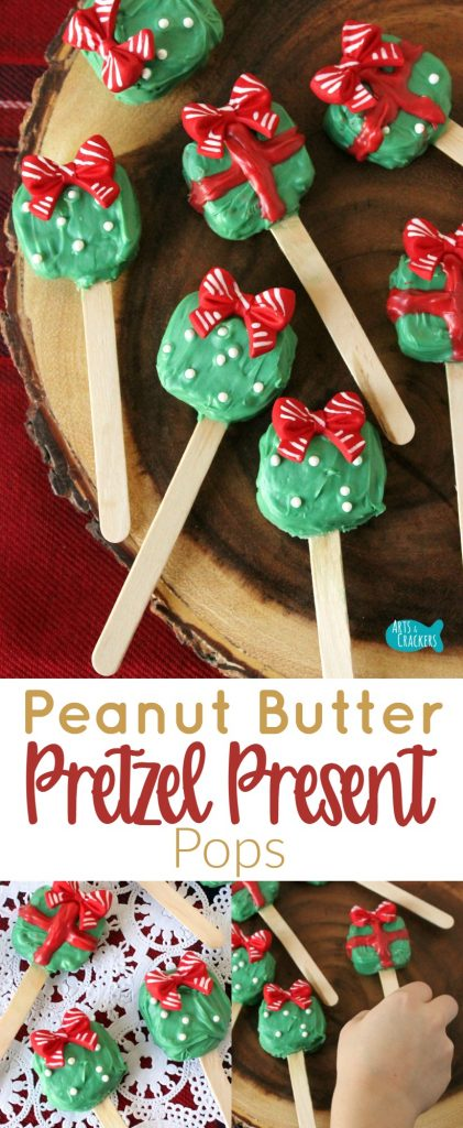 Peanut Butter Pretzel Bites shaped like presents are the perfect Christmas treat. They are easy to make and fun for all ages to eat at Christmas parties. Change up the colors for birthday party treats, baby shower treats, or wedding shower treats! Pretzel Treats | Christmas Treat | Christmas | Christmas Food | Christmas Dessert | Pretzel Sandwich | Cute Food | Present Pops | Pretzel Gifts | Pretzel Presents | Peanut Butter | Peanut Butter Pretzel | Snack Ideas | Christmas for Kids | Party Food | Christmas Party | Food on a Stick