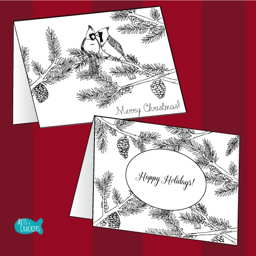 Two Birds of a Feather Christmas Coloring Page for Adults Christmas Cards to Color