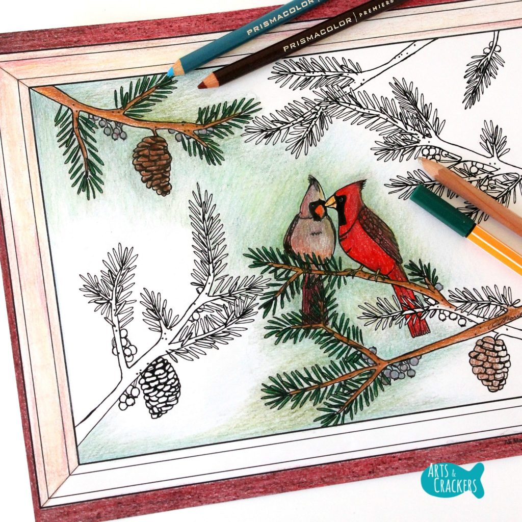 Two Birds of a Feather Christmas Coloring Page for Adults No Snow