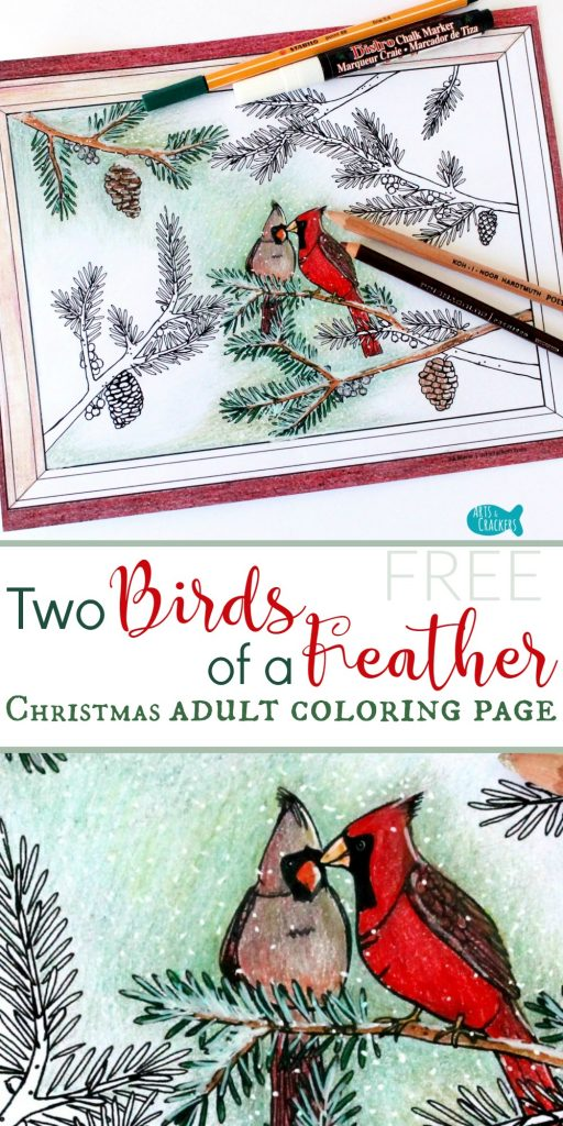 "Celebrate winter with this Christmas coloring page for adults--""Two Birds of a Feather."" It's free to download 